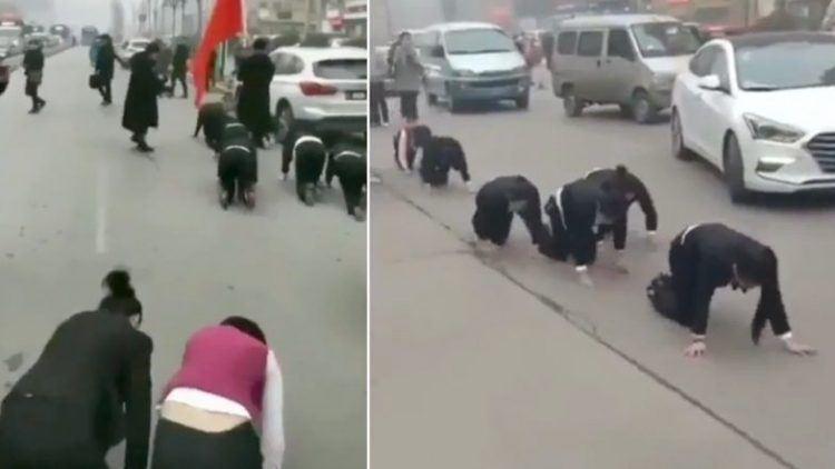 Une entreprise de la province du Shandong, en Chine, a été critiquée pour avoir forcé six de ses employés à ramper dans les rues, pour les punir de ne pas avoir atteint leurs objectifs de vente.