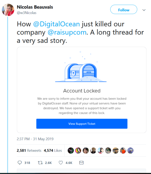 L'affaire récent de Raisupcom et de Digital Ocean montre qu'un seul Tweet peut être désastreux. Mais que les hébergeurs web doivent aussi prendre leurs responsabilités.