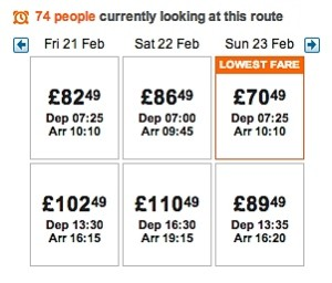 """Alert shown by EasyJet saying """"74 people currently looking at this route"""""""