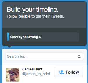 The step in the Twitter sign-up flow in which you are encouraged to follow 5 people