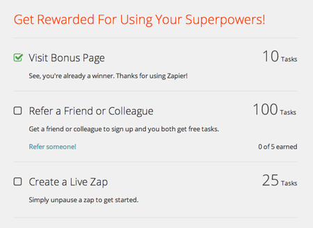 Zapier rewards users for investing more in the tool with extra task credits