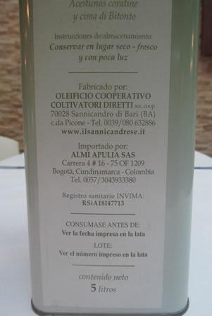 Etichetta 3 - Olio d'Oliva