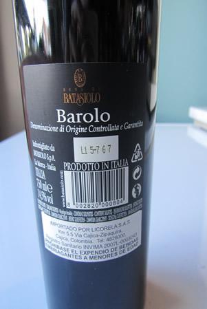Etichetta - Barolo