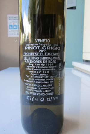 Etichetta Pinot Grigio