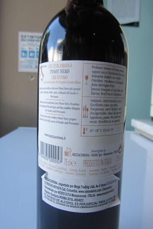 Etichetta Pinot Nero