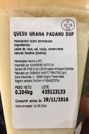 Etichetta Grana Padano