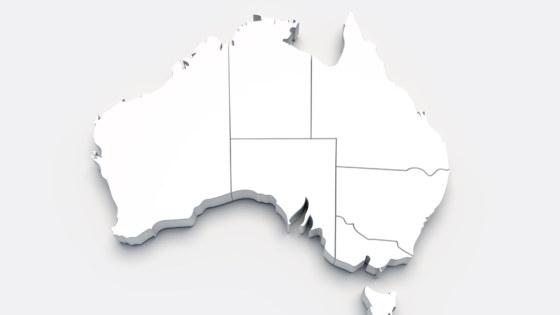 Australia 3D white map on gray