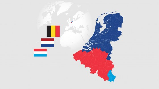 Map of BeNeLux countries with rivers and lakes and the national flags of this countries.