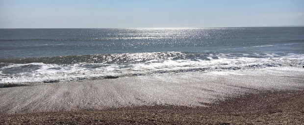 Milford on Sea beach in the Sunshine April 2018