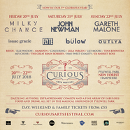 Music line up for Curious Arts Festival