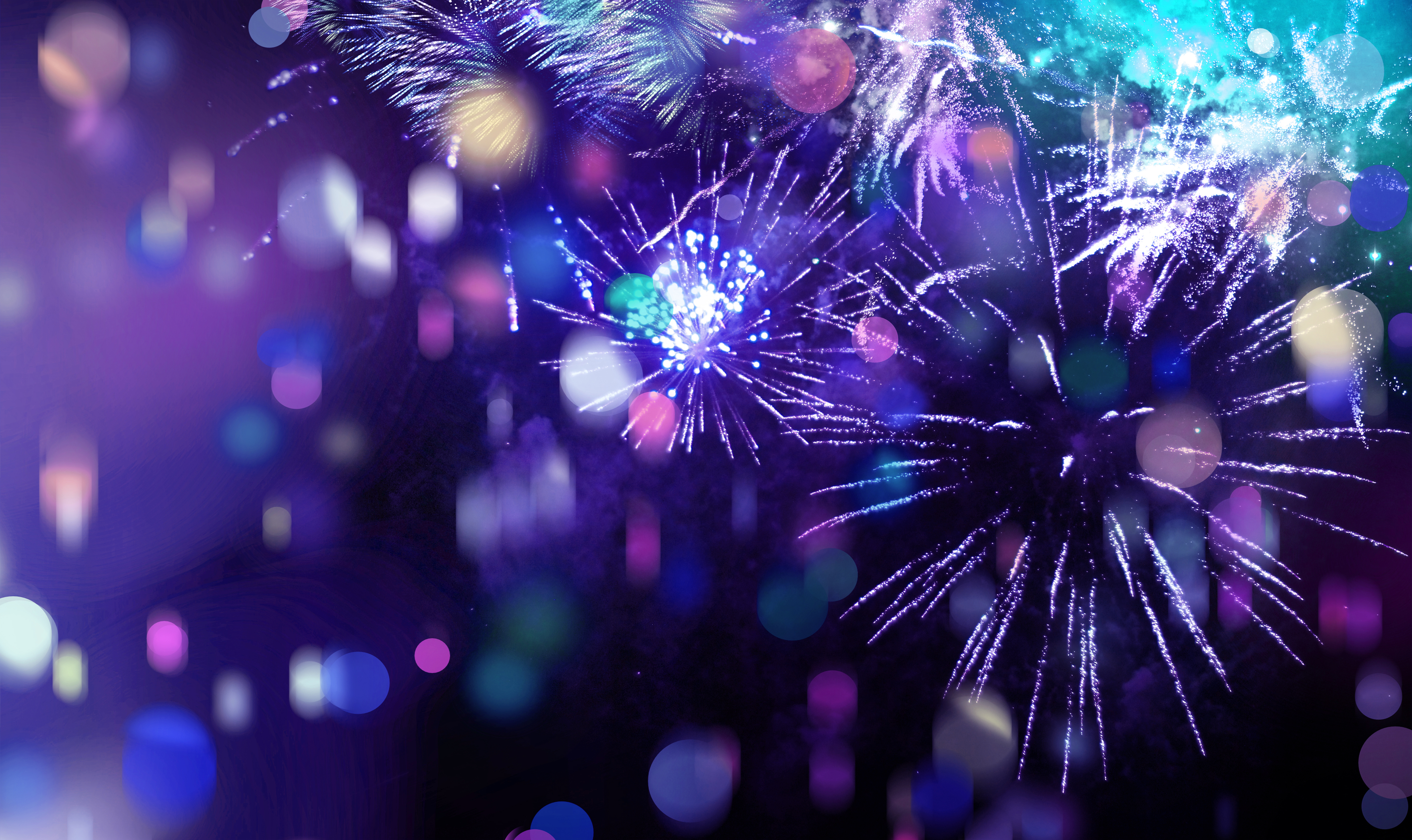 stars and lights pattern of bright sparkling colorful fireworks with colorful stars, confetti and circle shapes added