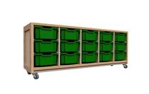 Kast 040 Houtnerf met 3 tussenpanelen en 12 laden