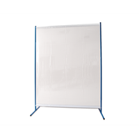 1-panel mobile protective screen with curtain, with welding curtain S0, transpar