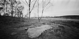 Cup and Ring Marked Stone on Gardoms Edge taken on a pinhole camera using Ilford Pan F