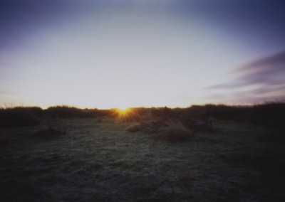 Dawn within Barbrook II Stone Circle, Derbyshire Peak District