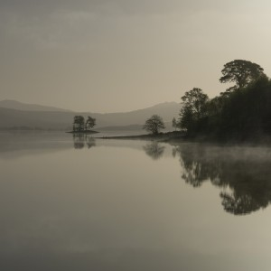 The last of the early morning mist burns off from Loch Tulla in Scotland