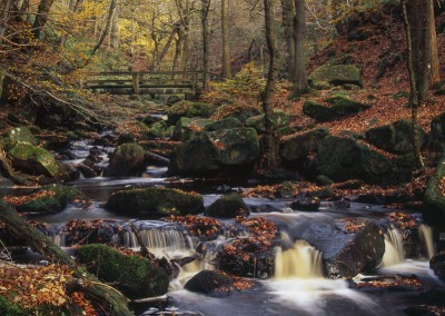 Padley Gorge Bridge in Autumn, Peak District