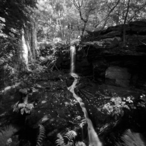 Lumsdale Water Fall, Peak District, black and white pinhole photography