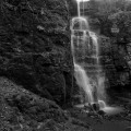 Swallett Falls, Peak District black and white landscape photograph