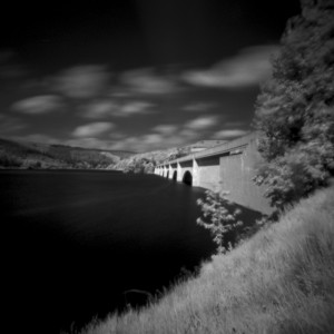 Ashopton Viaduct, Ladybower Reservoir, Derbyshire Peak District black and white pinhole photography