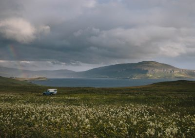 Rainbow and Landrover, Skye.
