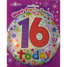 Party Badge 16 Birthday '16 Today' Large Badge - Stars & Swirls