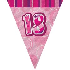 Birthday Pink Glitz 18th Bunting – 12 Ft / 3.65m