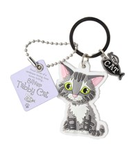 Top Cat Silver Tabby Cat Keyring