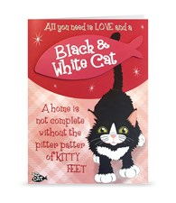 Top Cat Black & White Cat Greeting Card - All You Need Is Love