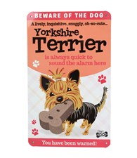 Top Dog Beware Of The Dog - Cute Yorkshire Terrier Plaque