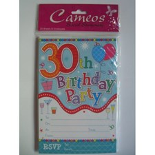 Multicoloured 30th Birthday Invitations - Pack of 20 with Envelopes