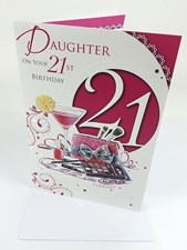 Happy 21st Birthday Daughter Card - Makeup and Flowers