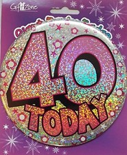 Party Badge 40 Birthday '40 Today' Large Badge - Stars & Flowers