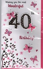 Birthday Age 40th 3-D Large Card - Butterfly Design