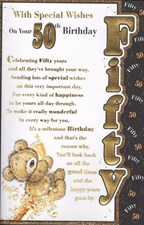 Birthday Age 50th Card - Cute Bear And Champagne