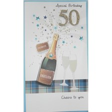 Birthday Age 50th 3-D Large Card - Champagne and Glasses Design