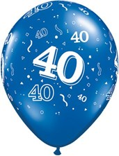 Blue Sapphire Age 40 Latex Balloons - Pack of 25