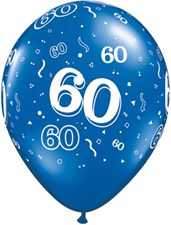 Blue Sapphire Age 60 Latex Balloons - Pack of 25