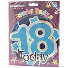 Party Badge 18 Birthday '18 Today' Large Badge - Blue Stars