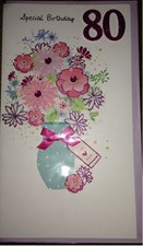 Birthday Age 80th 3-D Large Card -  Flower Vase Design
