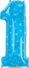 """Qualatex Blue '1' Star Patterned Giant 38"""" Number Foil Balloon"""