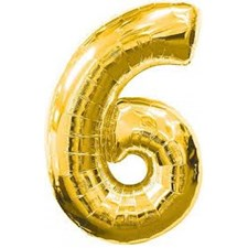 "Qualatex Gold '6' Giant 34"" Number Foil Balloon"