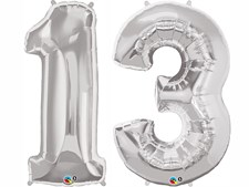 """Qualatex Silver Giant 34"""" Number '13' Foil Balloon Pack"""