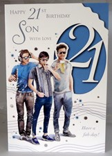Happy 21st Birthday Son With Love Card - Beer and Friends