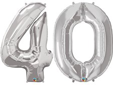 """Qualatex Silver Giant 34"""" Number '40' Foil Balloon Pack"""