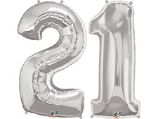 """Qualatex Silver Giant 34"""" Number '21' Foil Balloon Pack"""