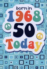 Birthday Age 50th Card - Born In 1968 Blue Squares