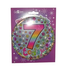 Party All Ages Badge 7 Birthday '7 Today' Large Badge - Silver & Flowers