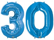 "Qualatex Blue Giant 34"" Number '30' Foil Balloon Pack"