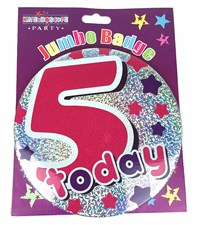 Party All Ages Badge 5 Birthday '5 Today' Large Badge - Purple and Pink Stars
